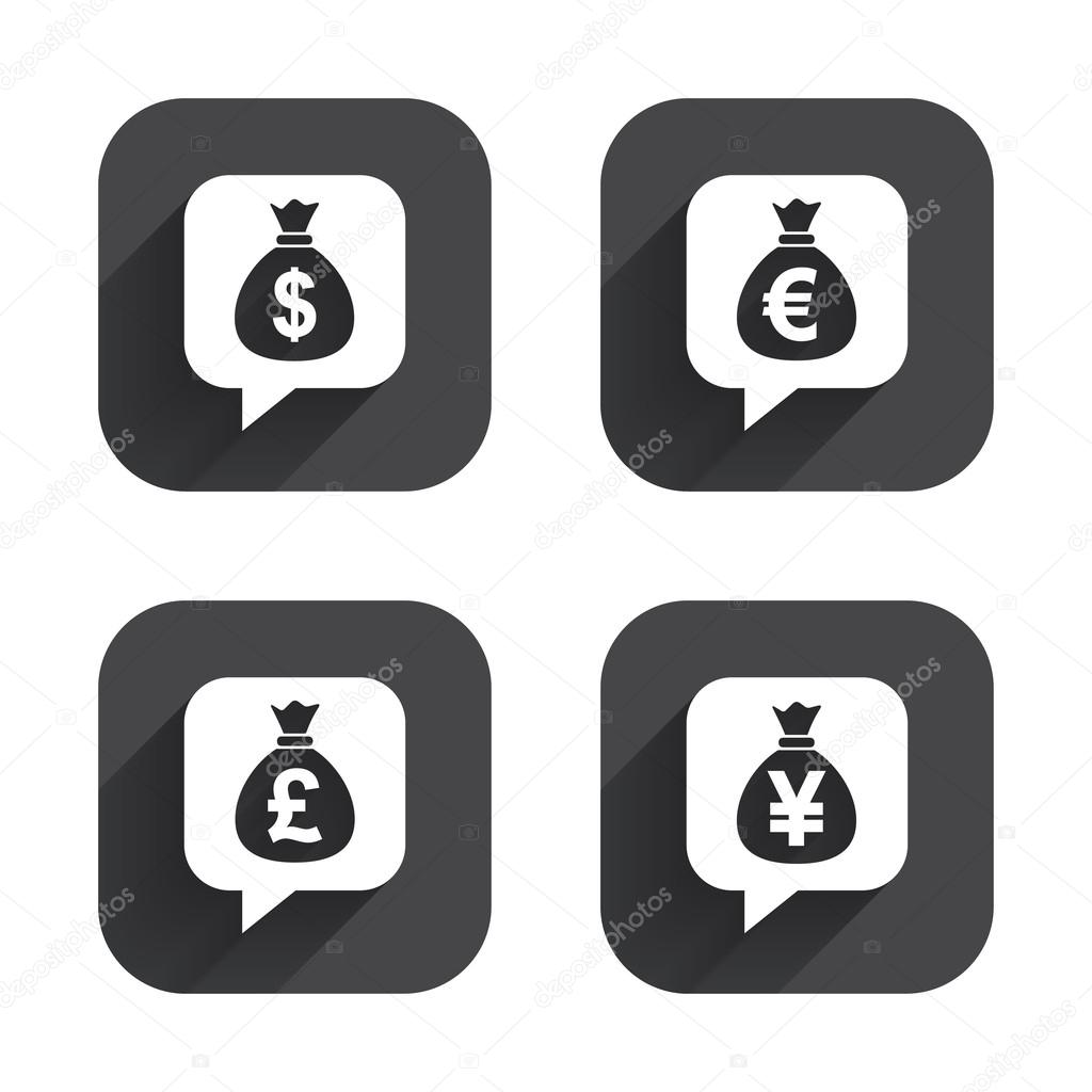 Money bag icons dollar euro pound and yen stock vector dollar euro pound and yen speech bubbles symbols usd eur gbp and jpy currency signs square flat buttons with long shadow vector by blankstock biocorpaavc Gallery