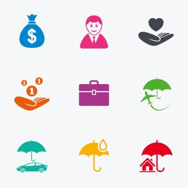 Insurance icons. Life, Real estate