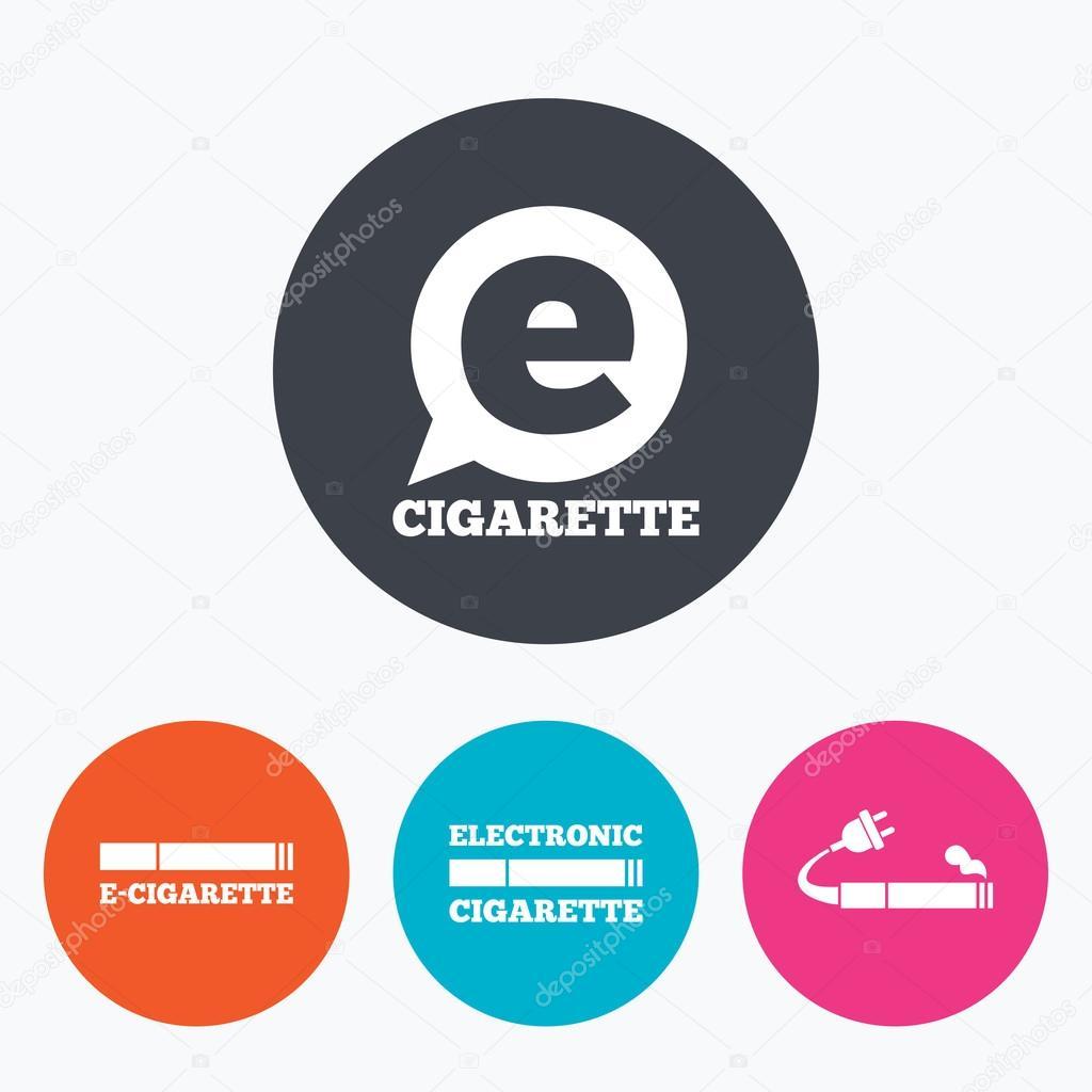 e cigarette signs electronic smoking icons stock vector