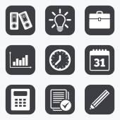 Büro-, Dokumente- und Geschäftssymbole.