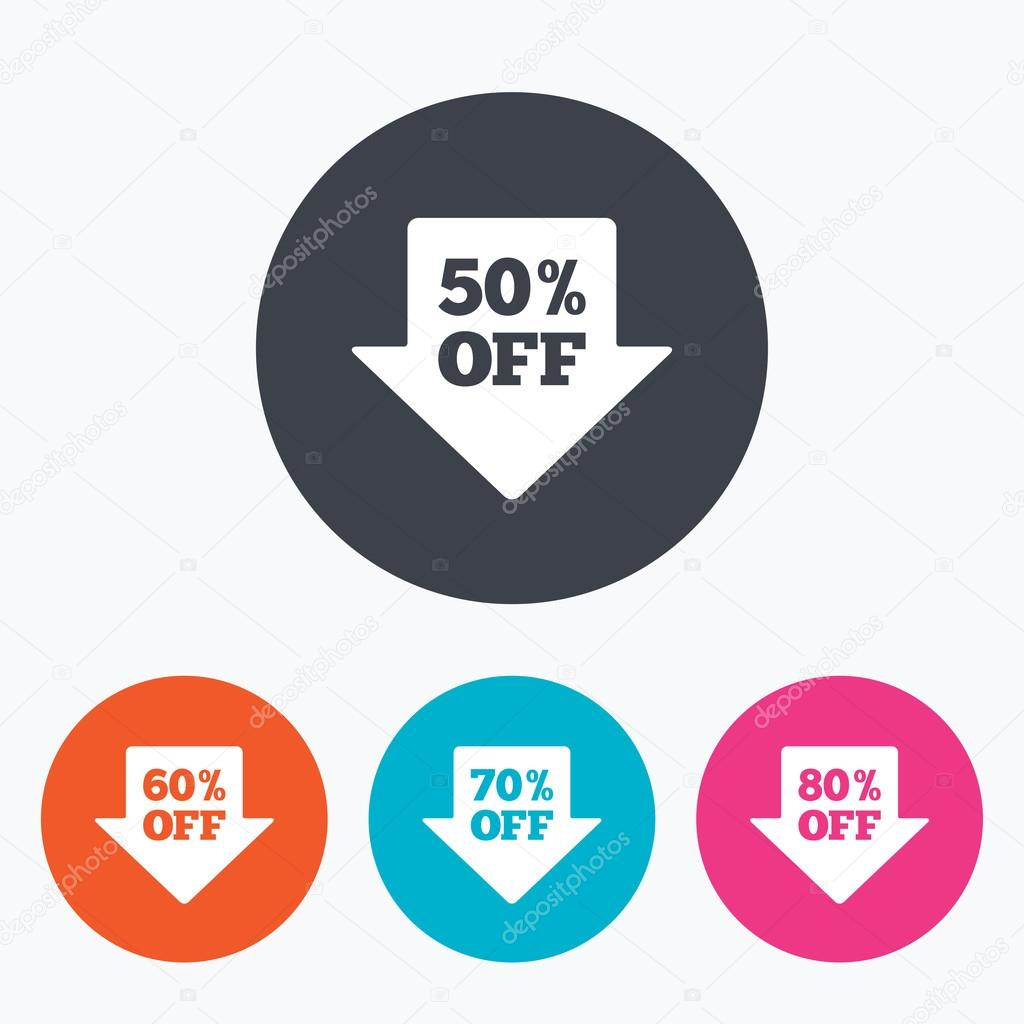 Sale arrow tag icons. Discount off symbols. — Stock Vector ...