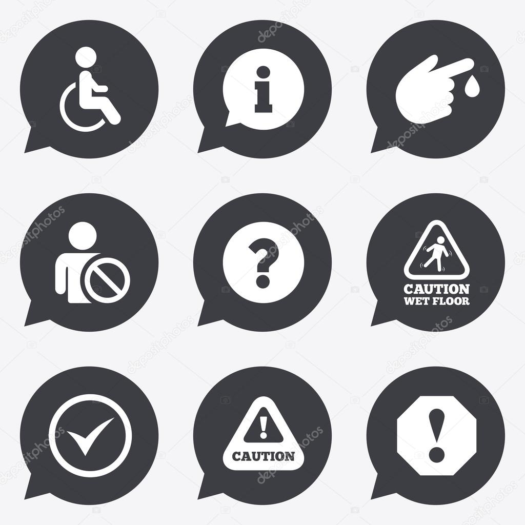 Attention notification icons information signs stock vector attention notification icons question mark and information signs injury and disabled person symbols flat icons in speech bubble pointers biocorpaavc