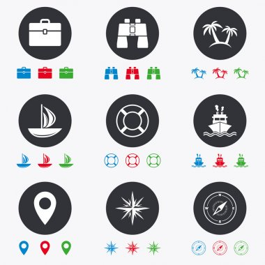 Cruise trip, ship and yacht icons.