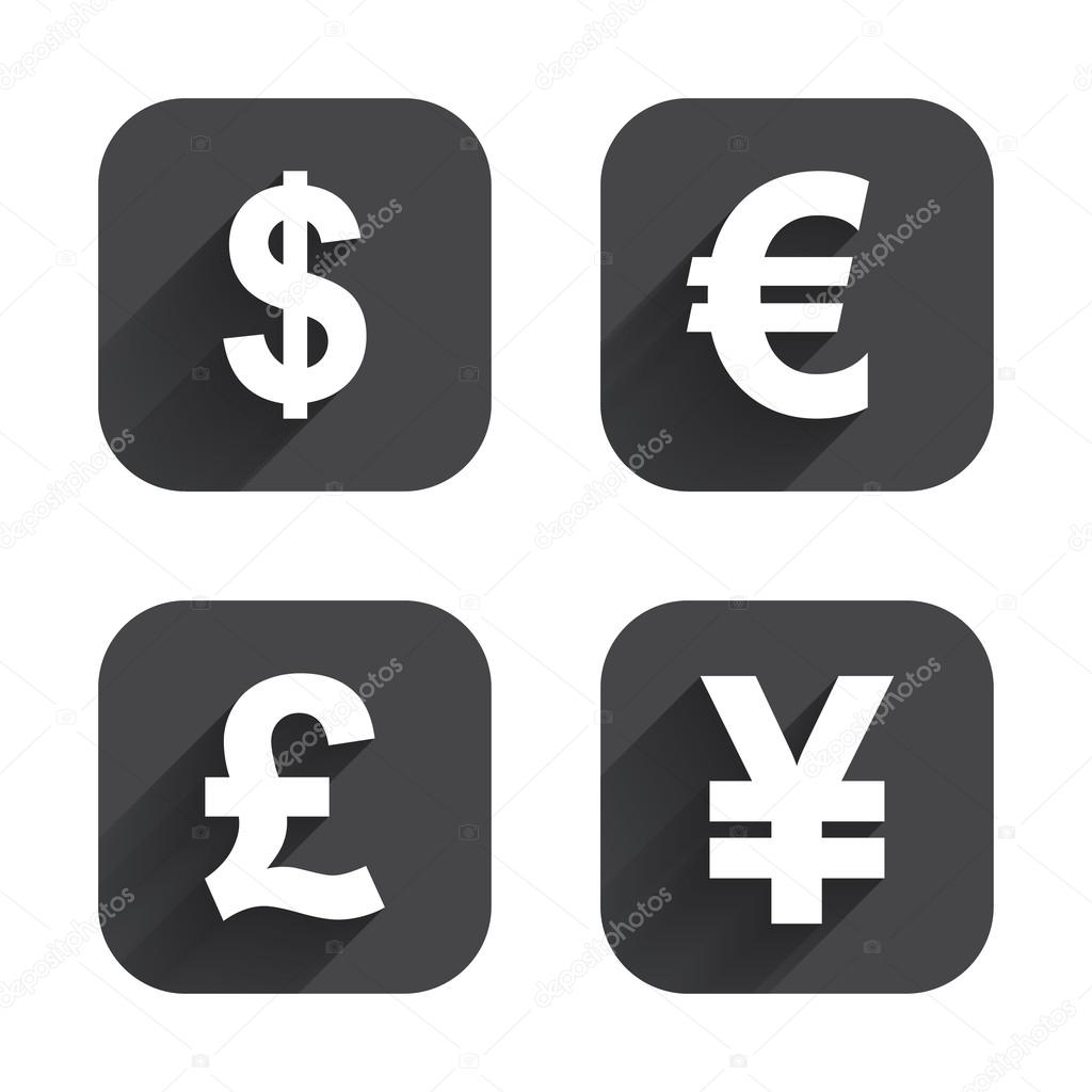 Dollar Euro Pound And Yen Currency Icons USD EUR GBP JPY Money Sign Symbols Square Flat Buttons With Long Shadow