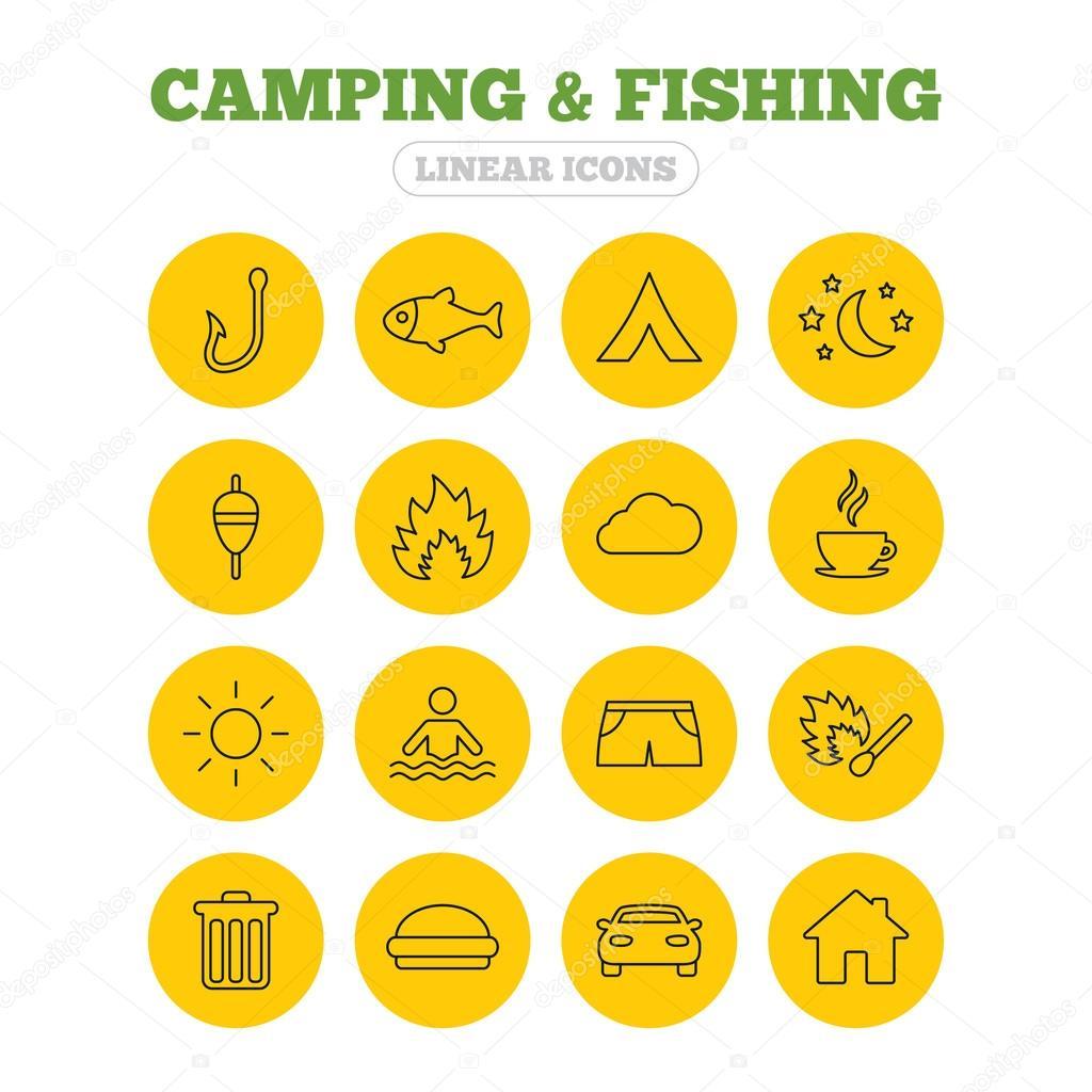 Camping Und Angeln Symbole Stockvektor Blankstock 99440856
