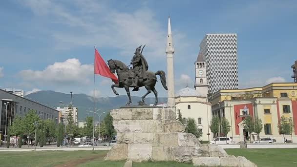 Skanderbeg monument and Ethem Bey Mosque