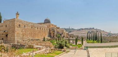 Solomons temple and Al-Aqsa Mosque minaret Jerusalem