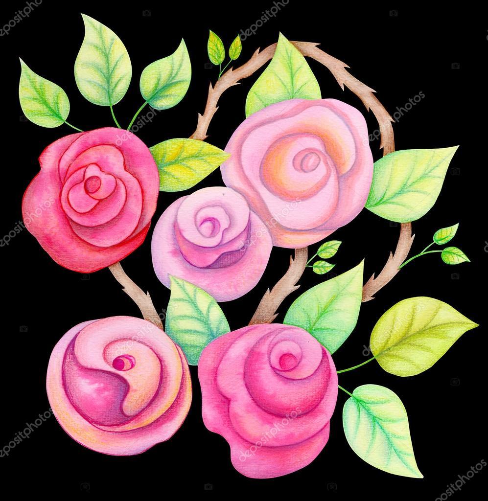 Watercolor roses flowers  in watercolor