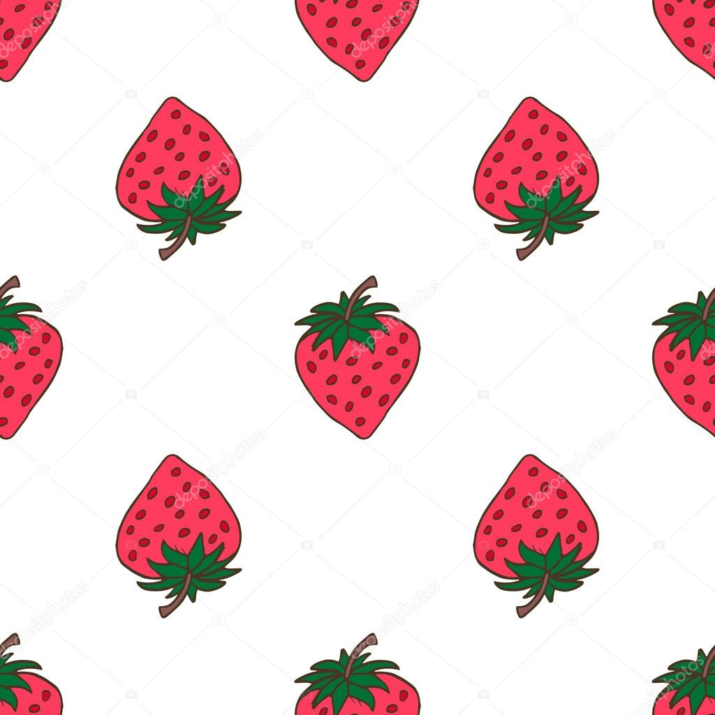 Seamless background with pink strawberries. Cute vector strawberry pattern. Summer fruit illustration on mint polka dots background.