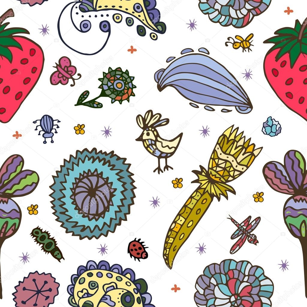 Vector Flower Pattern Seamless Botanic Texture Detailed Flowers