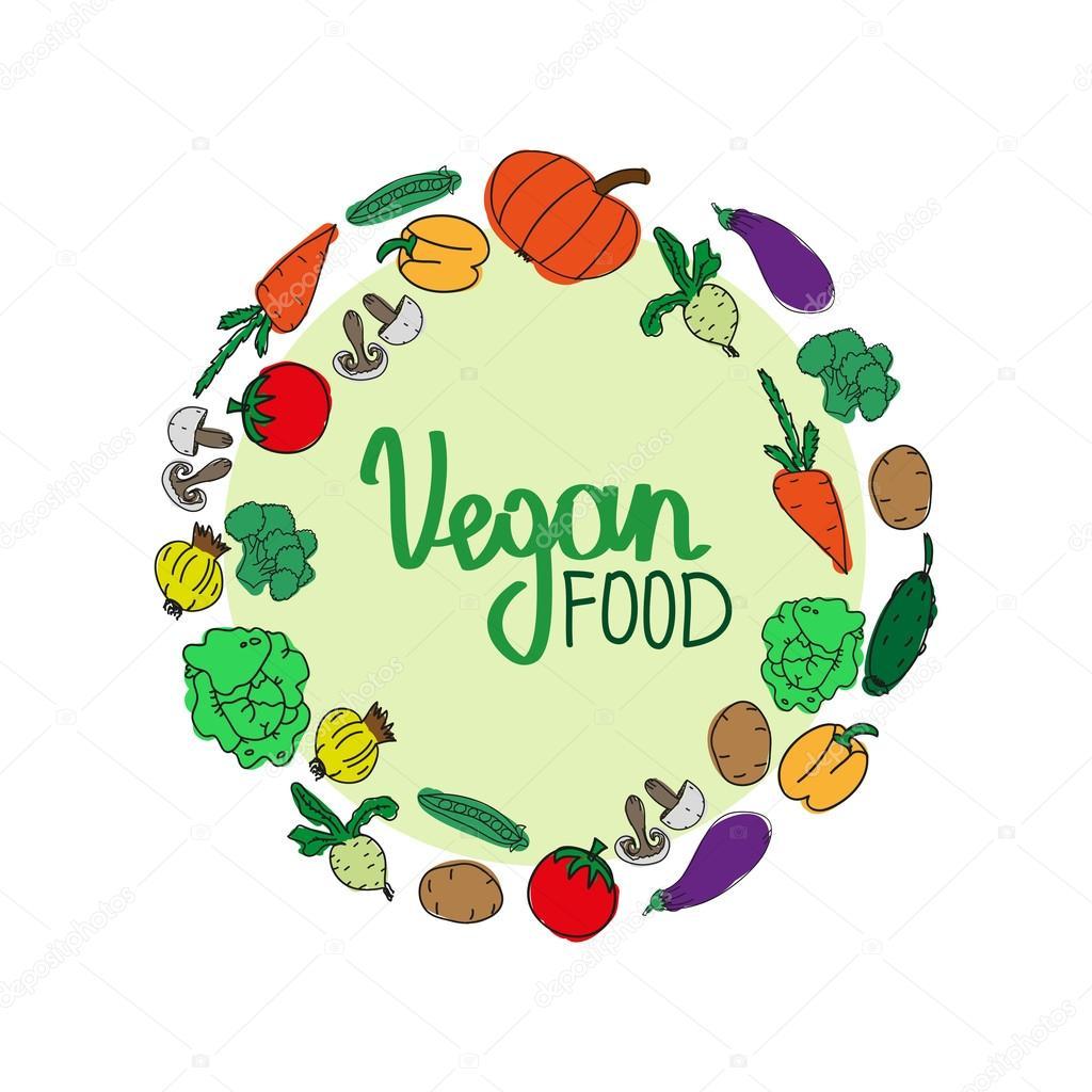 c4212dca4 Mão desenhada produtos de proteínas vegan em círculo — Vetores de Stock