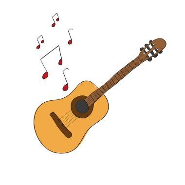 hand-drawing cute cartoon guitar musical instrument doodle