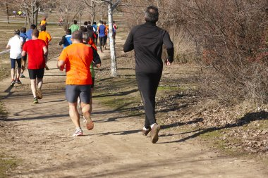 Male athletic runners on a cross country race. Outdoor circuit