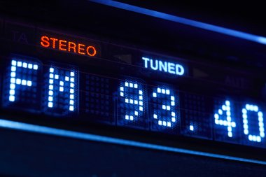 FM tuner radio display. Stereo digital frequency station tuned