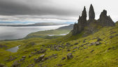 Skotský čedičových krajina v ostrově Skye. Starý muž Storr