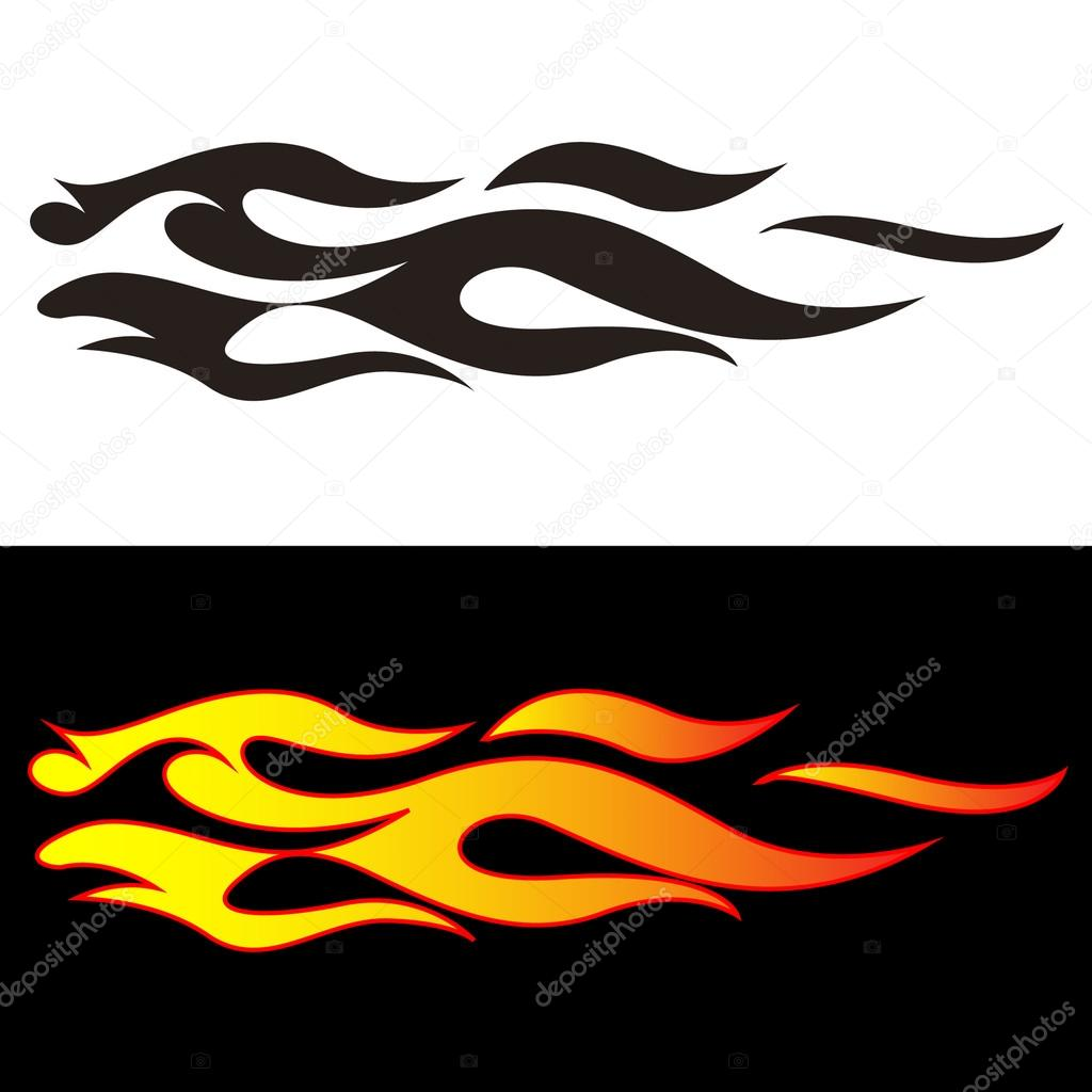Car design sticker vector graphics - Tribal Flames Illustration For Car Decal Or Stickers Vector By J0hnb0y