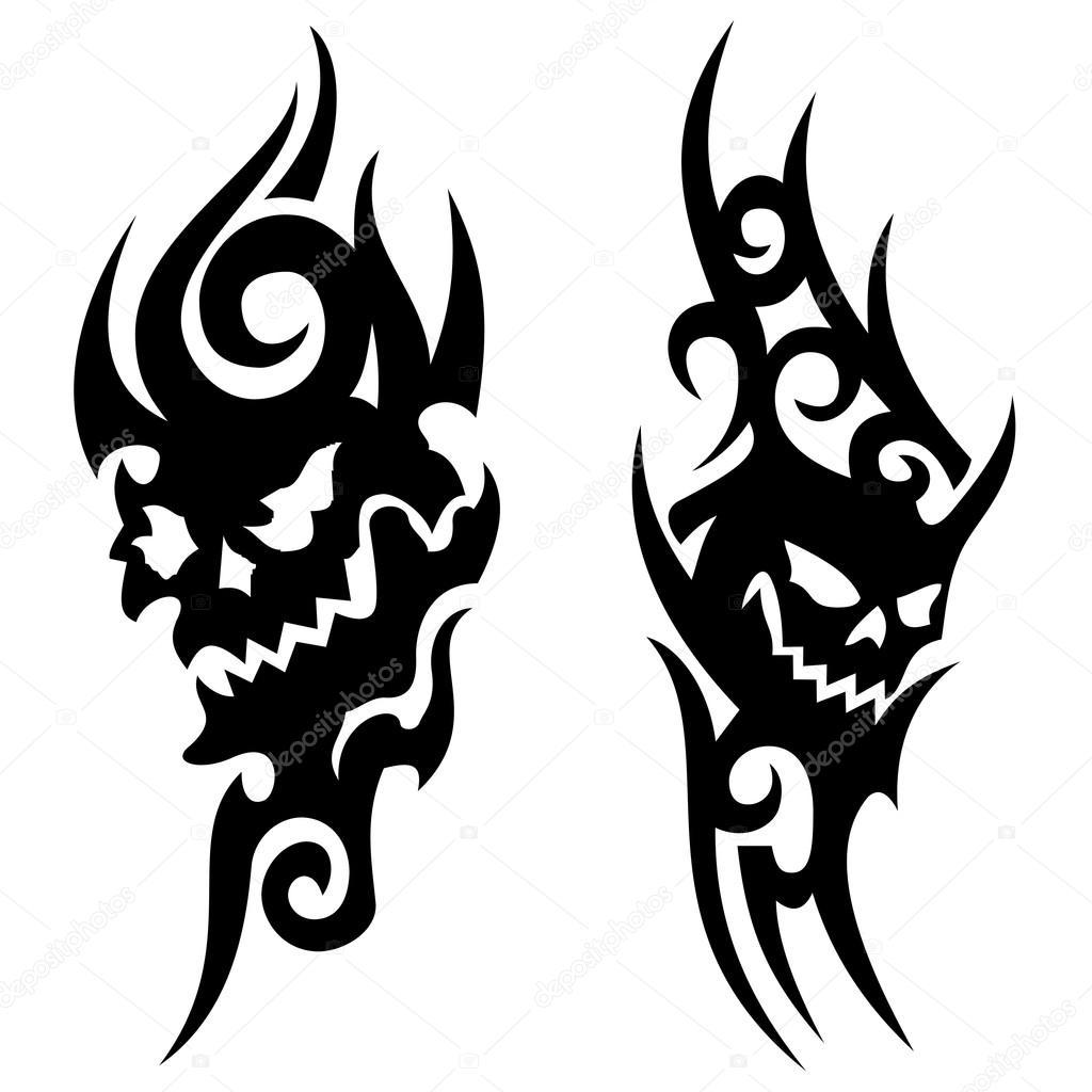 Skull Tribal Tattoo Stock Vector J0hnb0y 76099471