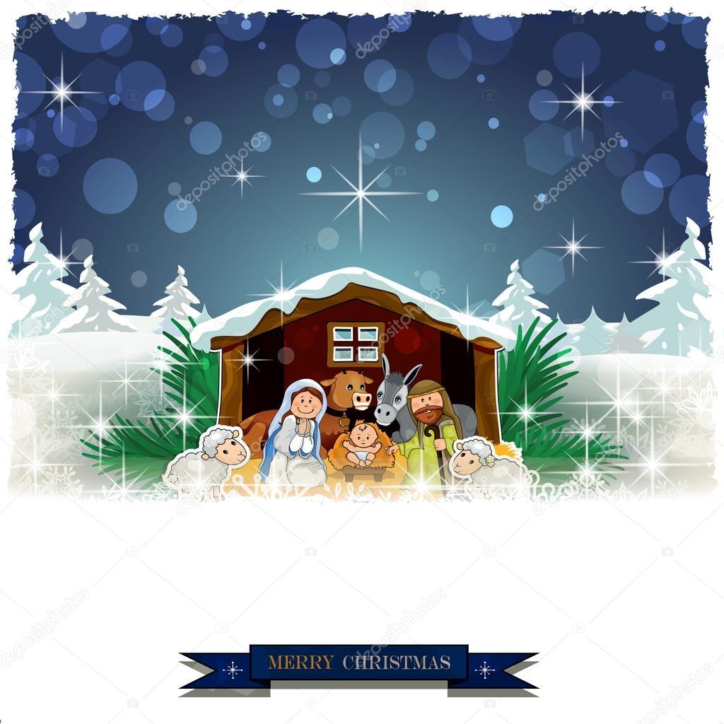 Nativit con capanna coperta di neve vettoriali stock for Piani di coperta 16x20