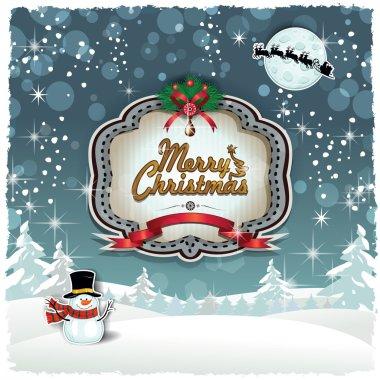 Christmas snowy label