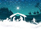 Fotografie White silhouette nativity scene with magi