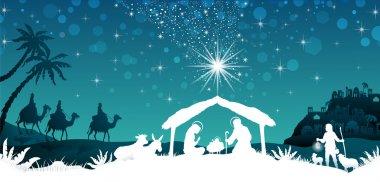 White silhouette nativity scene