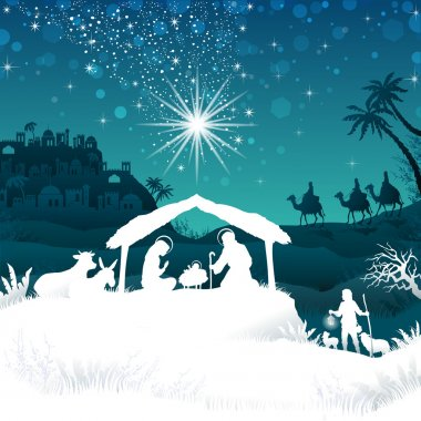 White silhouette nativity scene on Bethlehem