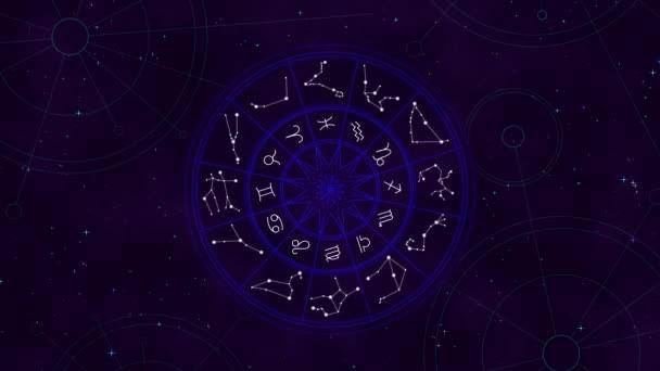 Neon-Tierkreisrad im Raum, sternenklare Nacht mit funkelnden Sternen, Astrologie-Konzept Hintergrund, Galaxientapete