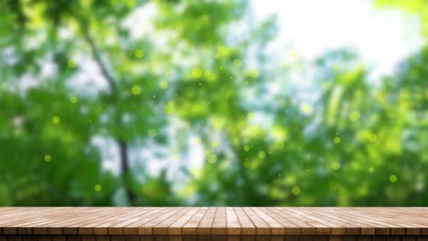 Natural wood table top on a Green leaves and trees with nature blurred in backgr