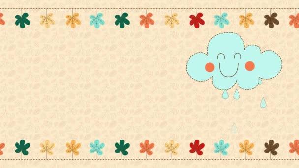 niedliches herbstliches Konzept Animationsmaterial, glückliche blaue Wolke mit Regentropfen, bunte