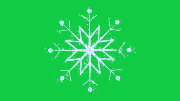 zöld képernyő ragyogó hópehely kis csillogó csillagok animáció