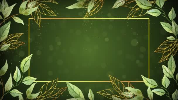 zöld és arany levelek háttér keret animációs felvételek