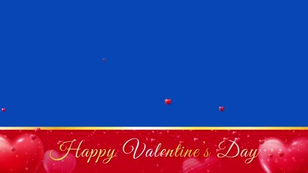modrá obrazovka, alfa kanál, šťastný Valentýn koncept animace záběry, banner reklama, 3D srdce létání a zlaté zářící hvězdy, láska koncept banner