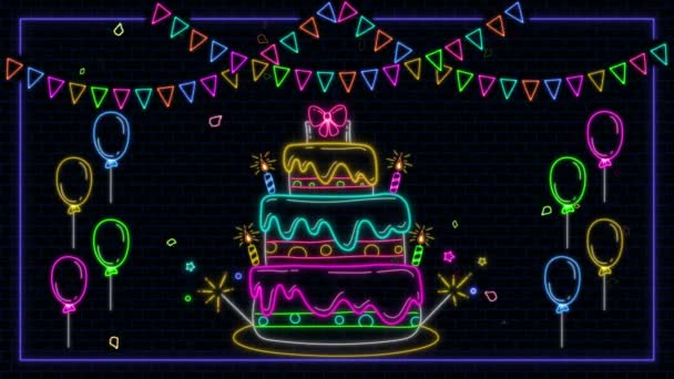 neon birthday cake birthday concept animation. colorful confetti and balloons and candles, falling confetti,dark brick wall background