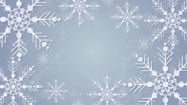 hópelyhek csillogó csillagok animáció, üres sablon design, újév és boldog karácsonyi koncepció, gradiens kék háttér, kristálycsillogó hópelyhek