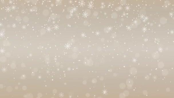 Veselé Vánoce a Nový rok bokeh animace záběry, zlatý gradient, sněhové vločky a sněhové koule, zimní sezóna prázdné růžové zlato pozadí