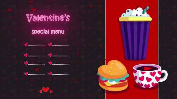 gyönyörű Valentin különleges menü neon fények, szív animáció, egy hely a saját logó