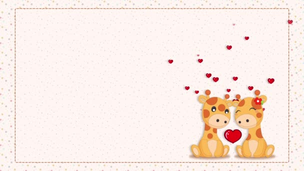 giraffes love animation,valentine concept wallpaper,hearts flying on a bright background with colorful dot patterns,cute kids template