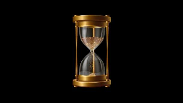 arany por homokóra fekete háttér animáció, részecskék hullanak, idő pénz koncepció