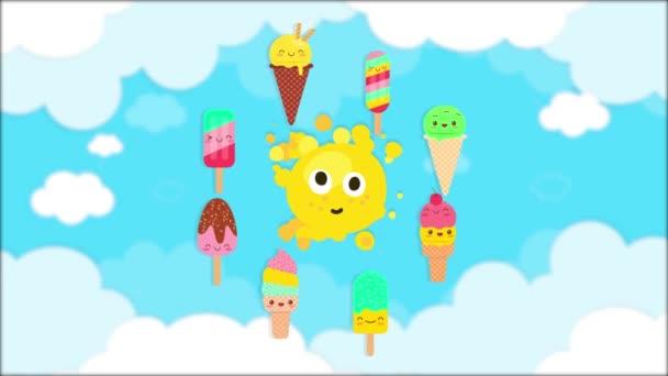 niedliches Eis rund um die Sonnenanimation, mit bewölktem Himmel Hintergrund, Sommertapete