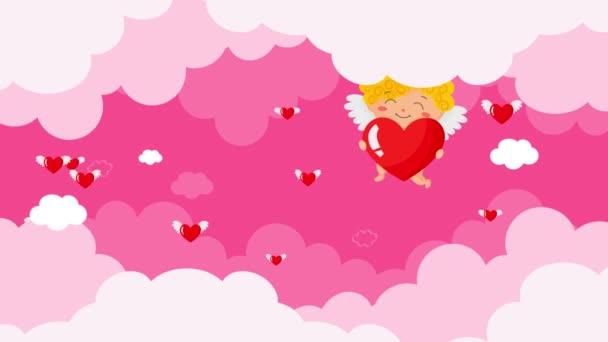 Engel fliegen in den bewölkten Himmel, Valentinstag Animation, rosa Hintergrund, Herzen fliegen mit Flügeln