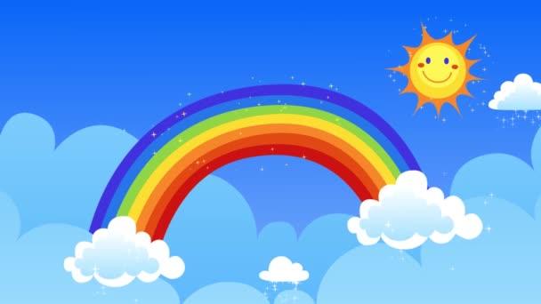 niedliche Frühlingsanimation, Sonne und Regenbogen mit blauem Himmel, fröhlicher Sonne und Wolken