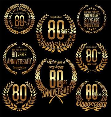 Anniversary golden laurel wreath retro vintage design 80 years