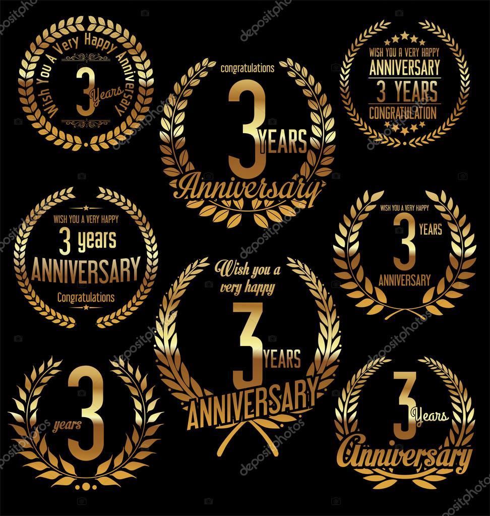 Výročí zlatý vavřínový věnec retro vintage design 3 roky — Stockový vektor 1e14480fa5