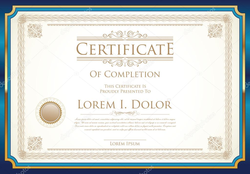 certificate or diploma template retro vintage design stock vector