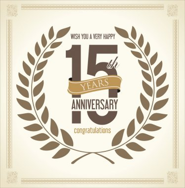 Anniversary Laurel wreath retro vintage collection 15 years