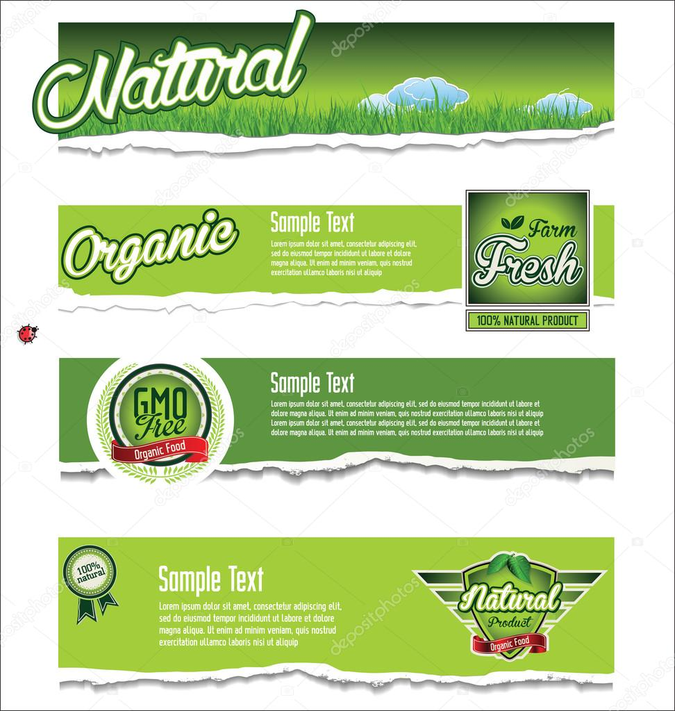 Ecology, organic, nature green banner collection