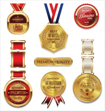 Premium quality gold and red medal collection