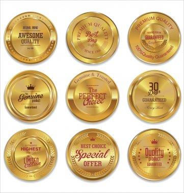 Golden metal badges colection