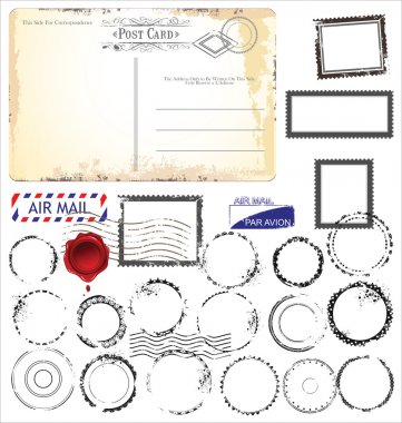 Set of post stamp symbols, vector illustration clip art vector