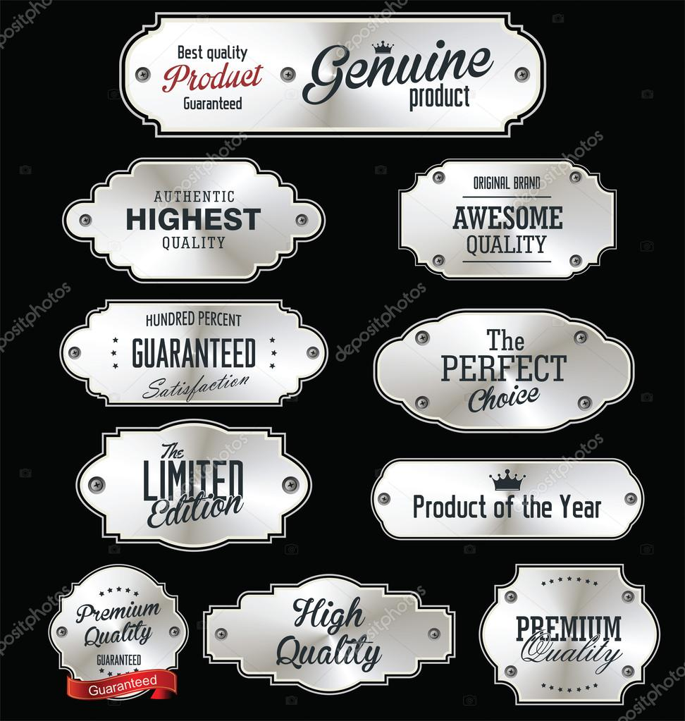 Metal plates premium quality silver collection